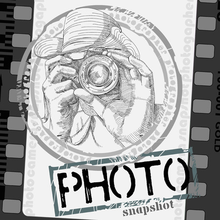 snapping: freehand drawing photographer with a camera designed as a photo frame Illustration