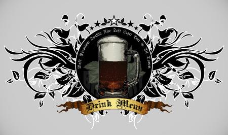 tomando alcohol: Menú del diseño para las bebidas con elementos decorativos de la planta Vectores