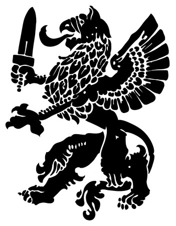 griffin: mythical beast griffin, used in medieval heraldry as the Argus