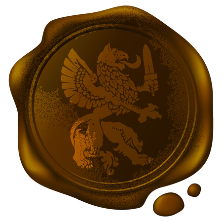custodian: mythical beast griffin picture on the old wax seal