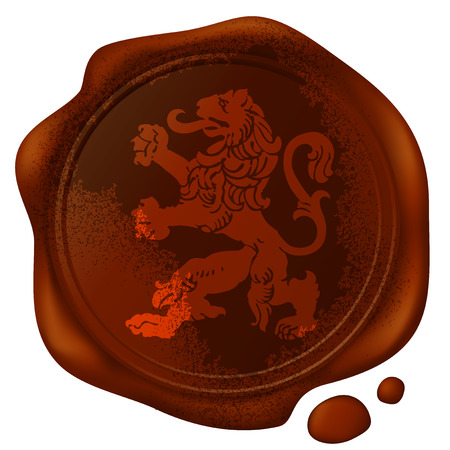 mythical beast lion picture on the old wax seal