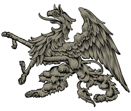 custodian: freehand drawing mythical griffin, used in medieval heraldry