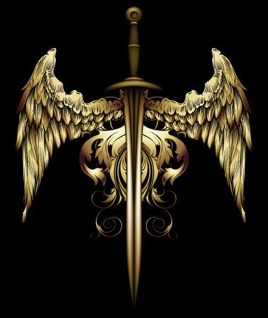 middeleeuws zwaard versierd met vleugels en wervelingen Stock Illustratie
