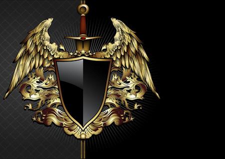 Mittelalterlichen Kampf Schwert und Schild mit dekorativen Elementen Standard-Bild - 40831980
