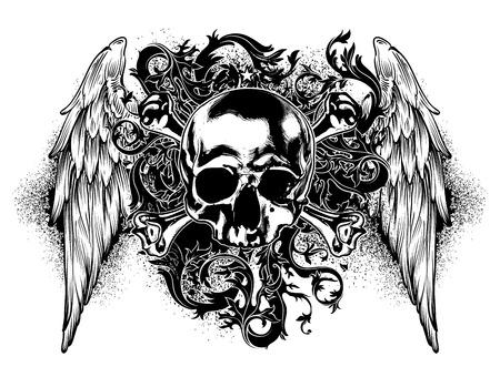 calavera: decorativo fondo de arte con el cráneo humano y las alas Vectores