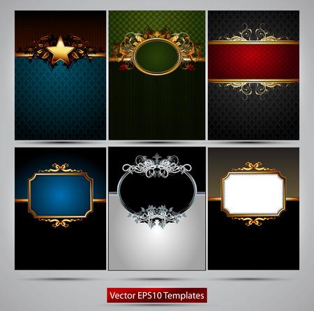 marcos decorados: seis marcos ricamente decoradas de diferentes colores sobre un fondo gris
