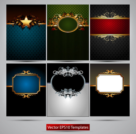richly: six richly decorated frames of different colors on a gray background Illustration