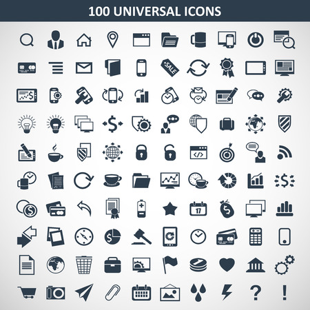 Hundred of universal icons for all sorts of themes for use in design projects