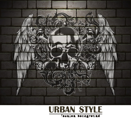 urban style: fashion art background with human skull  in urban style Illustration