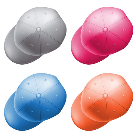 pink cap: set of colored caps fashionable style