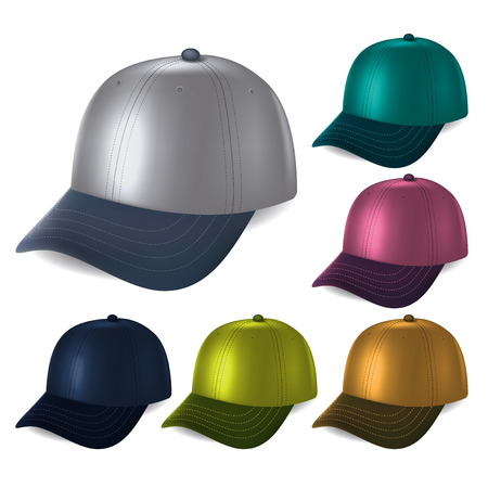 six objects: set of colored caps fashionable style