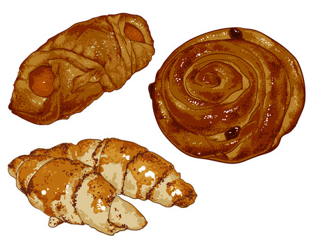 rosy: a set of three kinds of fresh pastries - muffins and croissants Illustration