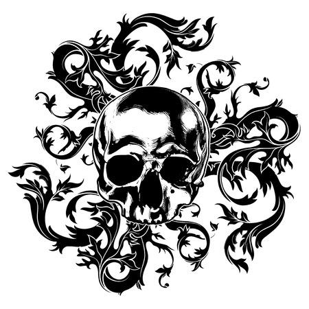 calavera: fondo de arte con el cráneo adornado con remolinos
