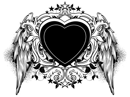 heart with wings: black heart decorated with swirls and wings
