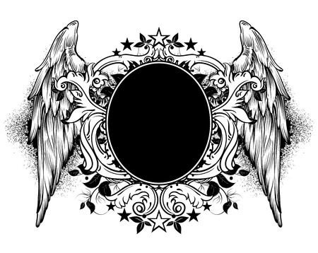ornamental shield: ornamental black shield decorated with wings and floral elements