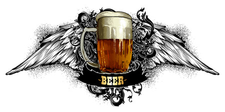 beer label made in a retro style on a white background Illustration