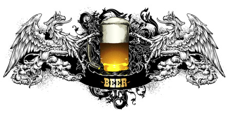 beer label made in a retro style on a black background Illustration