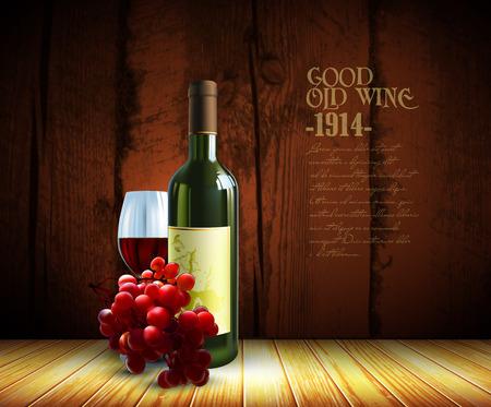 wine glass: wine and grapevine