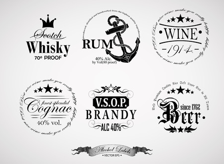 alcoholic beverages: set of labels for different alcoholic beverages
