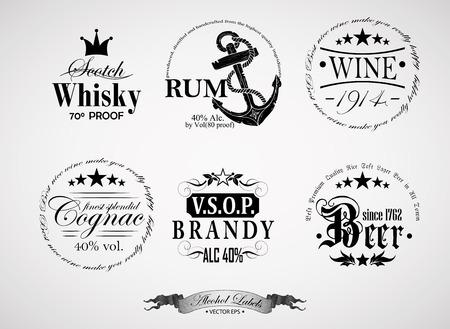 wine label design: set of labels for different alcoholic beverages