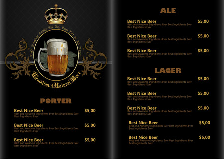 beer menu Illustration