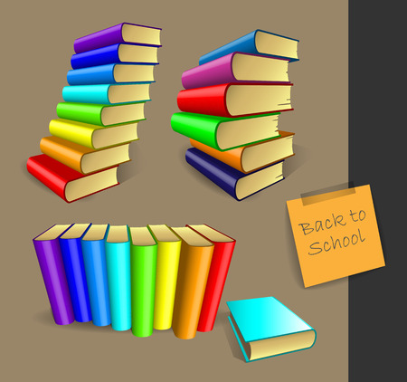 freehand drawing books in colored bindings for school Illustration