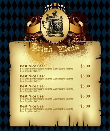 beer drinking: beer menu Illustration