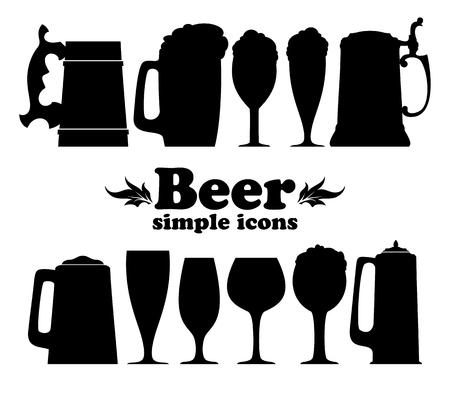 jarra de cerveza: conjunto de iconos de la cerveza Vectores