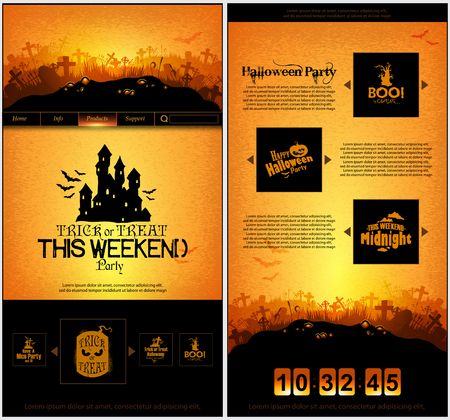 fairytale background: Halloween one page design template Illustration