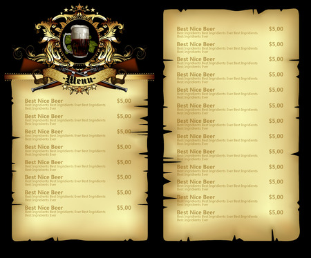 style template: design template menu for  beer restaurant in retro style
