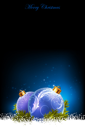 gift of hope: Christmas blue background decorated with fir balls Illustration
