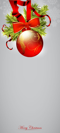 gift of hope: Christmas background decorated with red fir balls Illustration