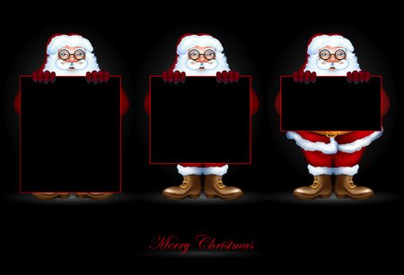 gift of hope: Three of Santa Claus are holding banners on a black background Illustration