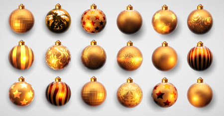 eighteen: a set of eighteen golden bubbles Christmas tree with different patterns Illustration