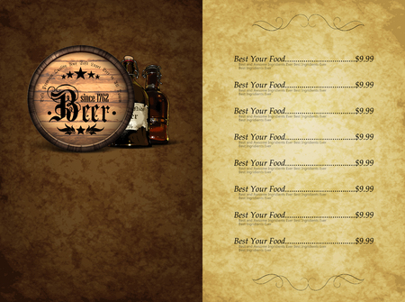style template: design template menu beer restaurant in retro style