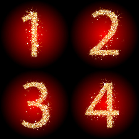 numbers: Four sparkling golden numbers Illustration