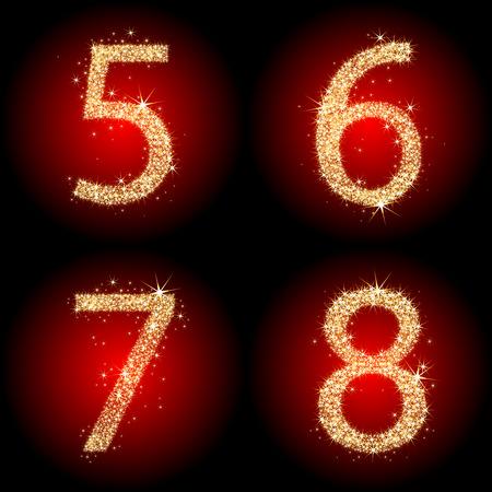 Vier funkelnde goldenen Zahlen Vektorgrafik