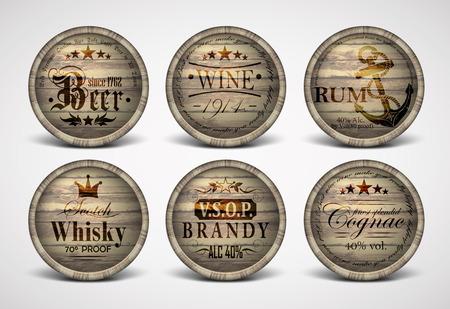 lager beer: set of covers casks
