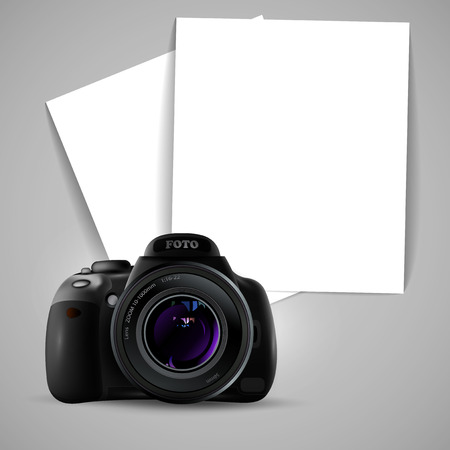 photo paper: photo camera and two sheets of white paper