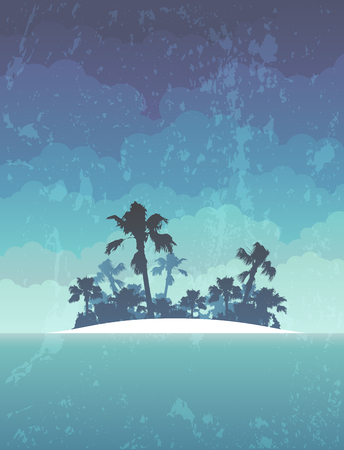 silhouetted: island with palm trees silhouetted