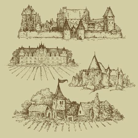 set of castles Illustration