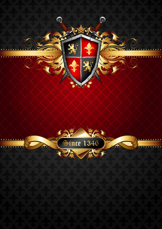 ornate frame with shield