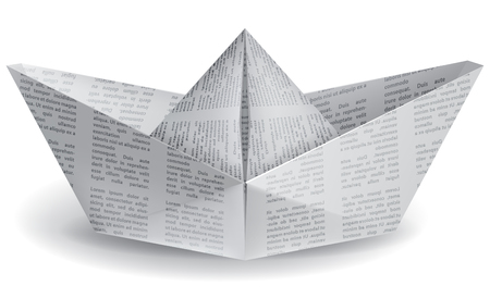 paper boat: small paper boat on a white background