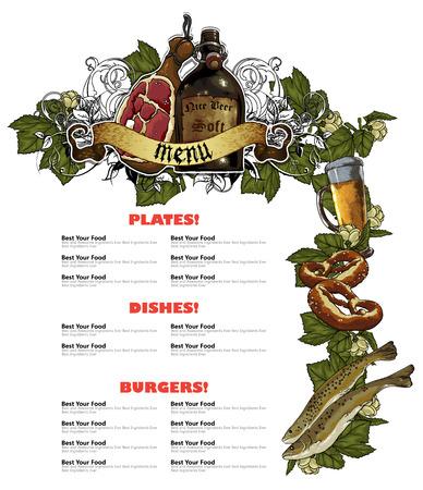 bebida: O projeto do molde restaurante de comida e bebida menu