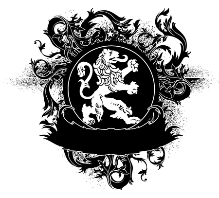 ornamental: heraldic shield with lion