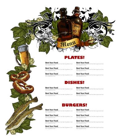beverage: restaurant menu white