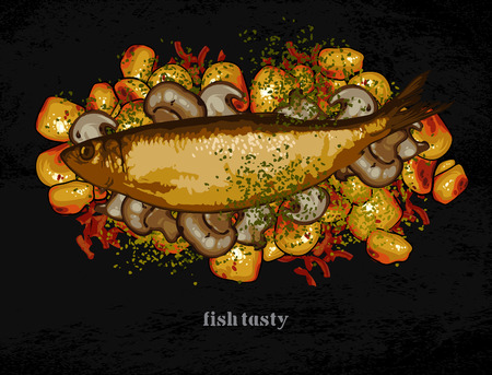 plato de pescado: plato de pescado con una guarnición