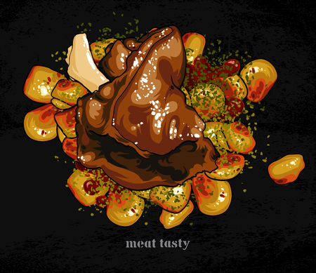 baked potatoes: meat dish with a garnish
