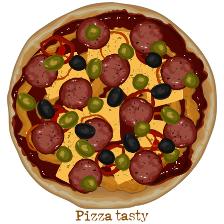 freehand drawing: pizza with salami, freehand drawing