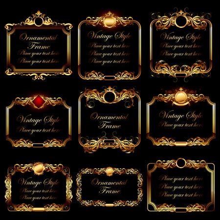 golden frames: set of ornamental golden frames in vintage style Illustration